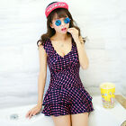 One Piece Ruched Blue Polka Dot Siamese Swimdress Swim Dress Swimsuit Tankini