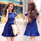 Blue Stock Womens Short Sleeve Slim Fit Prom Party Evening Mini Summer Dress NEW