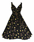 40s 50s RETRO VINTAGE BLACK BIRD POLKA DOT ROCKABILLY FLARED DRESS  NEW 10 - 28