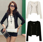 2015 New Slim Women Casual OL Blazer Suit Coat Jacket Cardigan BLACK / WHITE