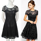 NEW Sale Womens Short Sleeve Sexy Lace Party Prom Evening Cocktail Dress Black