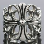 Punk Cut Out Hollow Lily Cross Flower Gothic Stainless Steel Finger Ring US 9/10
