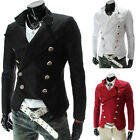 TOP FASHION New Military Mens Slim Fit Double Breasted Blazer Coat Casual Jacket