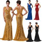 FISHTAIL Sexy Sequins Deep V Bridesmaid Ball Gown Evening Prom Party Dress Plus
