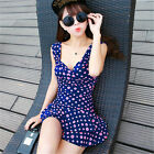 One Piece Polka Dot Tummy Control Swim Dress Tankini Skirt Swimwear Swimsuit Set