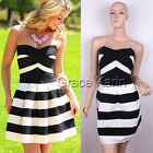 Sexy Womens Summer Strapless Striped Bodycon A-Line Cocktail Party Mini Dress 6
