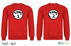 Thing 1 and Thing 2 Red Dr Suess Cat In A Hat  Twins Sweatshirt Kids  - Red