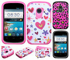 For ZTE Whirl 2 Z667 HARD Hybrid Rubber Silicone Case Phone Cover Accessory