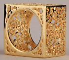 Gold full square rose floral filigree cocktail band Ring FASHION JEWELRY RM17
