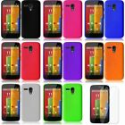 Colors Soft Silicone Rubber Case Cover Skin For Motorola Moto G New+Screen Guard