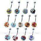 1PC 14G Czech Crystal Ball Flower Belly Navel Ring Stud Curved Body Piercing Bar