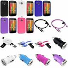 Various TPU Gel Jelly Back Case Cover+Flat Cord+Car Charger For Motorola Moto G