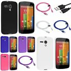 Various TPU Gel Jelly Back Case Cover+6ft Micro USB Cable For Motorola Moto G