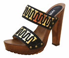 Black Gold High Heel Platform Peep Toe Mules Clogs Sandals Summer Shoes New