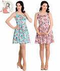 HELL BUNNY LACEY swallow rose MINI summer floral DRESS PINK TURQUOISE