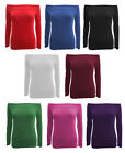 C64-WOMENS RED GREEN PINK BLUE PLAIN OFF SHOULDER LONG SLEEVE TOP-SIZE 8-22