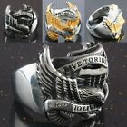 LIVE TO RIDE Eagle Hawk Stainless Steel Mens Biker Finger Ring Gold/Black/Silver