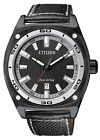 Citizen Eco-Drive WR 100m Men's Black Leather Sports Watch AW1050-01E