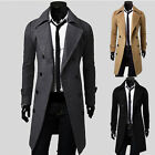 Mens Trench Pea Coat Long Trench Double Breasted Coat Wool Blends Casual Jacket