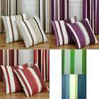 Striped Pair Of 18 Inch Multi Coloured Cushion Cover Cases In Natural, Plum, Red