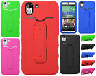 HTC Desire EYE Rubber Hybrid HARD Phone Cover Case Snap Tail STAND +Screen Guard