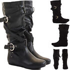 WOMENS LADIES FLAT HEEL KNEE OVER THE CALF HIGH BOOTS BLACK LEATHER SLOUCH SIZE