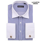 Frence style  vertical stripes white collar cufflinks men's dress fashion shirt