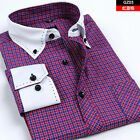white collar white cuff long sleeved plaids pattern men's cotton blend shirt