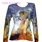 CLAUDE MONET Woman Parasol LANDSCAPE PAINTING IMPRESSION LS T SHIRT ART PRINT *