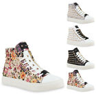 Damen Sneakers High Top Sportschuhe Nieten Zipper Schuhe 75244 New Look