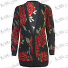 Womens Floral Knitted Front Buttons Boyfriend Grandad Ladies Cardigan Long Top