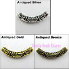 2Pcs Tibetan Silver Gold Bronze Hollow Curved Tube Spacer Beads Charms 14x52.5mm