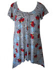 Plus Size 16 18 Marine Navy Stripes Long Top Gorgeous Roses Pearls Print SALE!!!