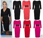Ladies Celeb Helen Flanagan Contrast Panel Women Bodycon Pencil Midi Party Dress