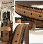 New Medium Brown Ranger Belt by Nocona Plain Laced Edges Casual Western