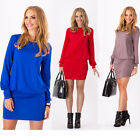 NEW Women Mini Dress Long Sleeve Tunic Tops Shirt Blouse UK 10 12 14 16 18 20 22