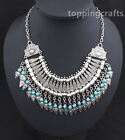 Retro Women Sliver Plated Chain Silver & Blue Pendant Statement Necklace