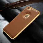 For iPhone 5 5S 6 Plus New Genuine Leather Back Cover Aluminum Alloy Bumper Case