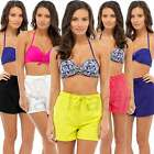 2 Pack Ladies Summer Hot Pants High Waist Jersey Shorts Holiday Twin Pack LN417