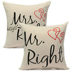 Mr.Right&Mrs.Always Right Cushion Cover Cotton Pillow Case Home Throw Waist