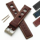 Mens Leather Watch Strap - Rally/Racing 3 Hole Style - Buckle and Spring Bars