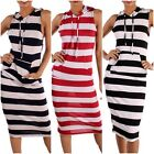 New! Women's CREAM 2 Striped Mid Calf Hodded Dress w/2 Front Pockets Made in USA