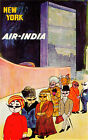 Vintage Air India New York Travel Poster A3 / A2 Print