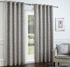 Somerford Embossed Script Heavy Eyelet Ring Top Lined Curtains, Silver Grey