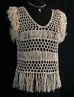 Fringe Cap Sleeve Top V Neck Crochet Ribbon Yarn Blouse Ivory Cream NWT S M L
