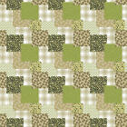 GREEN WHITE FLORAL CHECKED SQUARES PVC PLASTIC VINYL OIL TABLE CLOTH PROTECTOR