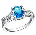 Amazing Blue Crystal Chic Pure 925 Sterling Silver Ring Size 6-8.5 Jewelry A1094