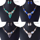 Charm Moonstone Rhinestone Bead Y Pendant Statement Bib Necklace Earrings Set