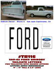 TR116 1961-63 FORD UNIBODY PICKUP TRUCK - TAILGATE LETTERS - DECAL - LICENSED