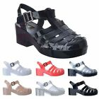LADIES WOMENS NEW CHUNKY BLOCK HEEL GLADIATOR PLATFORM JELLY SANDALS SHOES SIZE